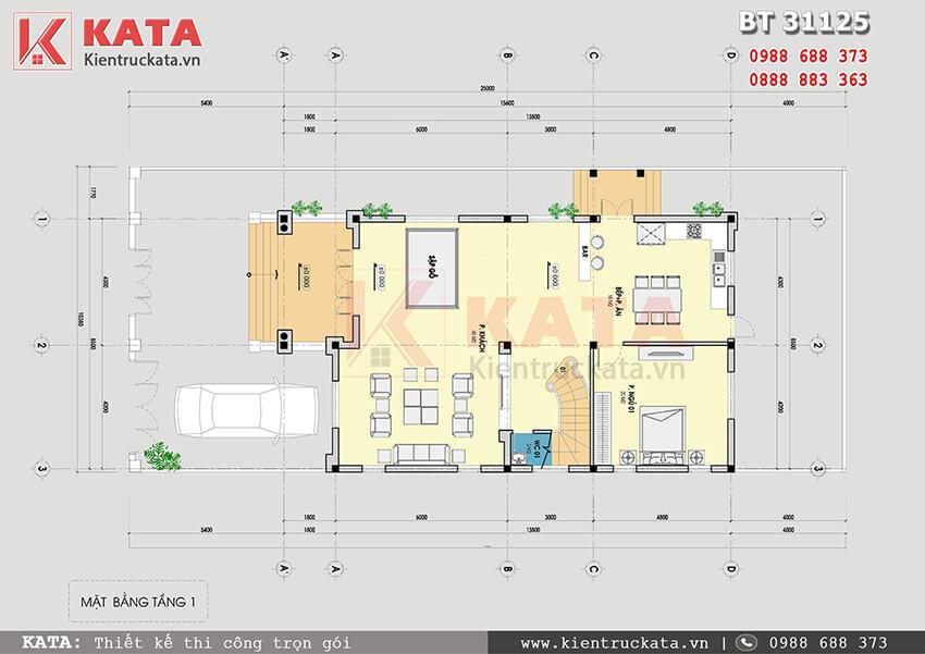 Mặt bằng công năng sử dụng tầng 1 của mẫu thiết kế biệt thự 3 tầng mái Thái