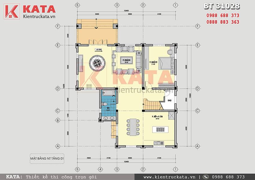 Mặt bằng công năng tầng 1 của mẫu thiết kế biệt thự vườn 3 tầng tại Quảng Ninh