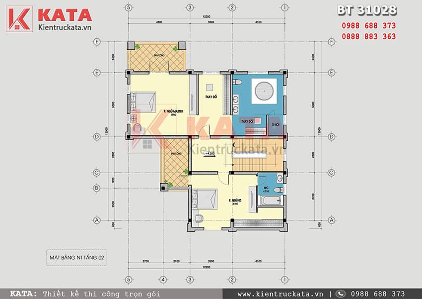 Mặt bằng công năng tầng 2 của mẫu thiết kế biệt thự vườn 3 tầng tại Quảng Ninh