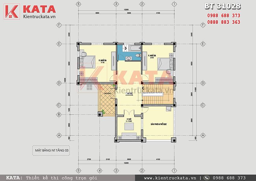 Mặt bằng công năng tầng 3 của mẫu thiết kế biệt thự vườn 3 tầng tại Quảng Ninh