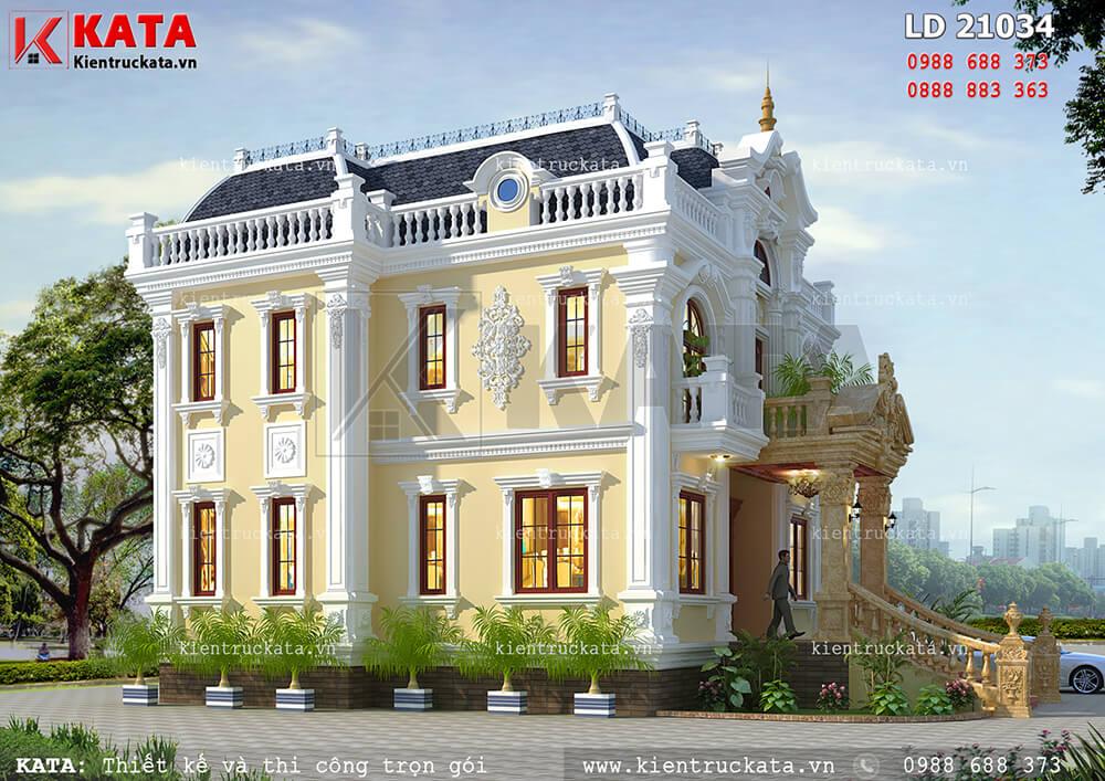 Một góc nhìn của tòa lâu đài 2 tầng cổ điển tại An Giang