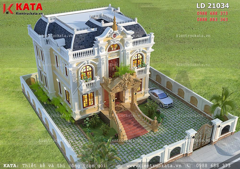Lâu đài 2 tầng cổ điển tại An Giang nhìn từ trên cao