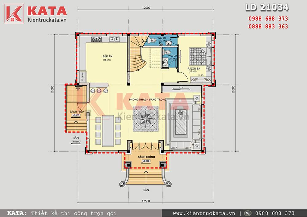 Công năng tầng 1 của mẫu lâu đài 2 tầng cổ điển tại An Giang
