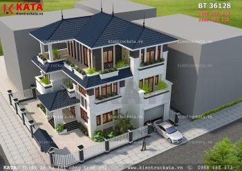 Mẫu biệt thự mái thái 3 tầng 2 mặt tiền tại Nghệ An – Mã số: BT 36128