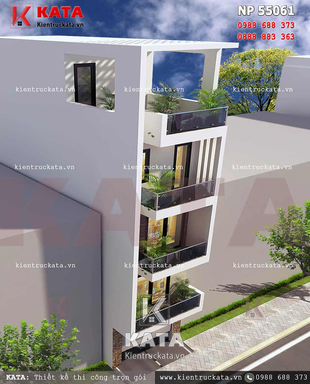 Mẫu thiết kế nhà lô phố 5 tầng đẹp tại Hải Dương nhìn từ trên cao