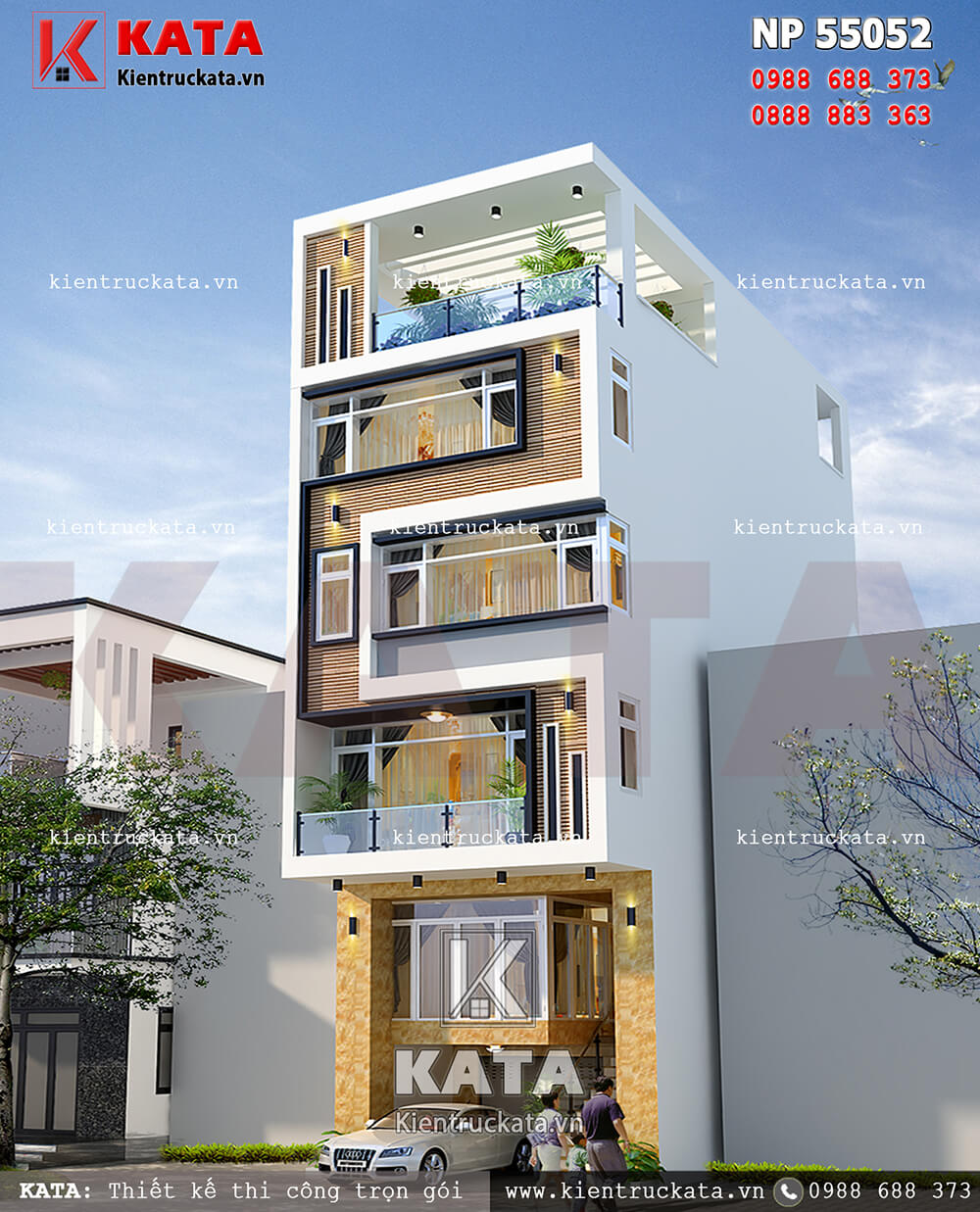 Một góc nhìn của mẫu thiết kế nhà phố 5 tầng kết hợp kinh doanh tại Hải Phòng