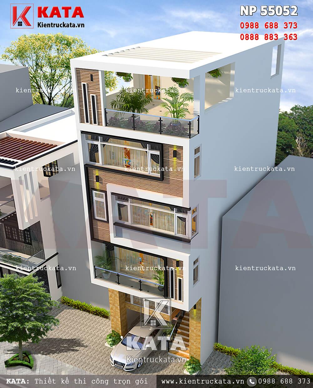 Thiết kế nhà phố 5 tầng kết hợp kinh doanh nhìn từ trên cao