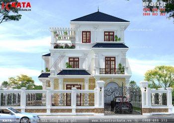 Mẫu thiết kế biệt thự mái thái 3 tầng tại Hà Tĩnh – Mã số: BT 36121