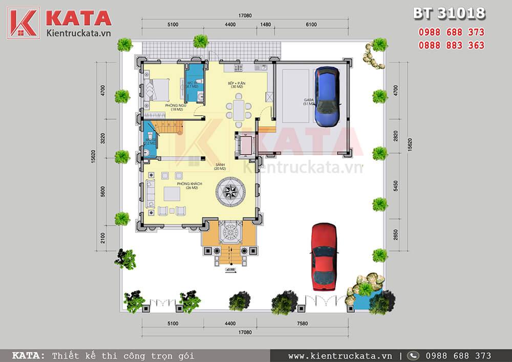 Mặt bằng công năng tầng 1 của mẫu biệt thự lâu đài 3 tầng tân cổ điển tại Ninh Bình