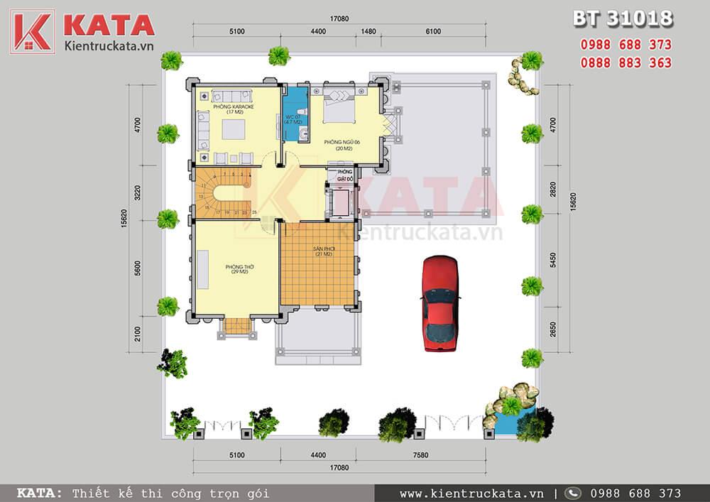 Mặt bằng công năng tầng 3 của mẫu biệt thự lâu đài 3 tầng tân cổ điển tại Ninh Bình