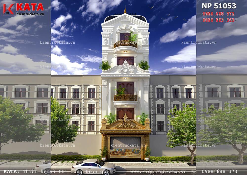 Mặt tiền mẫu thiết kế nhà ống 5 tầng đẹp tại Quảng Bình