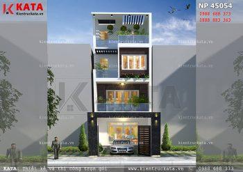 Thiết kế nhà lô phố 4 tầng có sân trước tại Hải Phòng – Mã số: NP 45054