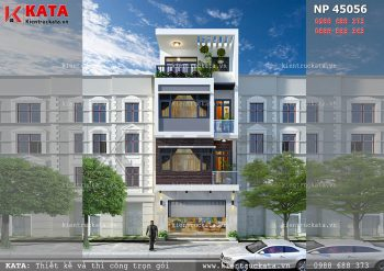 Mẫu thiết kế nhà phố 4 tầng đẹp tại Hưng Yên – Mã số: NP 45056