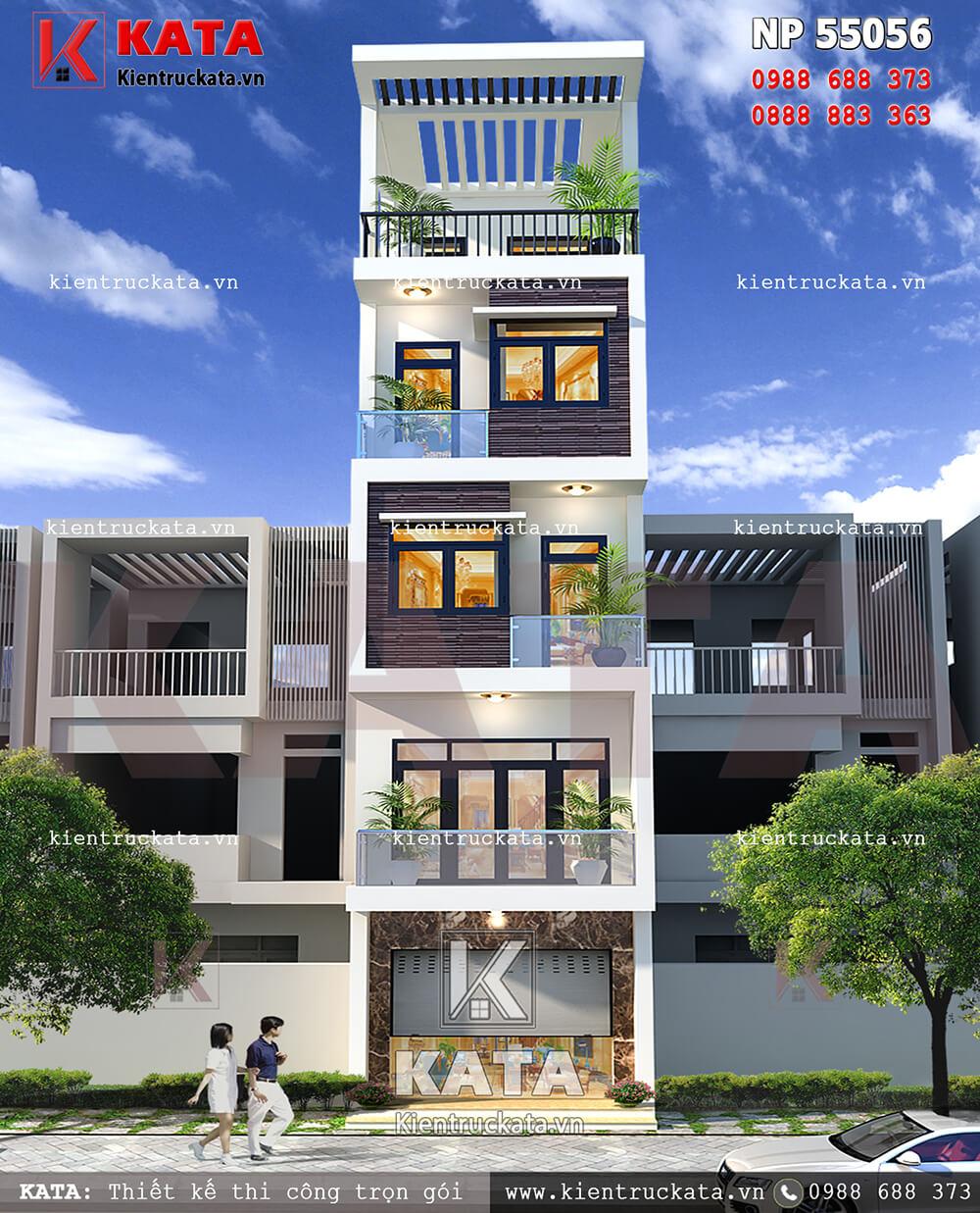 Mặt tiền mẫu nhà ống 5 tầng hiện đại đẹp tại Nha Trang
