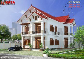 Thiết kế nhà biệt thự 2 tầng mái Thái tại Thái Nguyên – Mã số: BT 27026