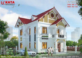 Thiết kế biệt thự mái Thái 2 tầng đẹp tại Vĩnh Phúc – Mã số: BT 28023