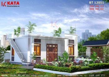 Mẫu nhà mái bằng 1 tầng hiện đại tại Thái Nguyên – Mã số: BT 12051