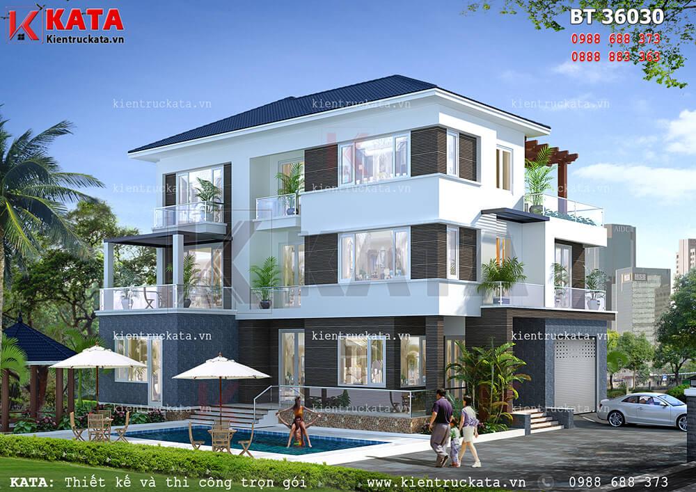 Mẫu nhà đẹp 3 tầng mái Thái hiện đại tại Hà Tĩnh sang trọng và đẳng cấp