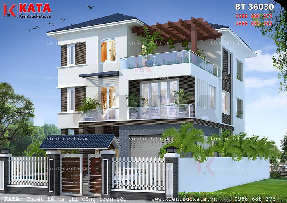 Mẫu nhà đẹp 3 tầng mái Thái hiện đại tại Hà Tĩnh - Mã số: BT 36030
