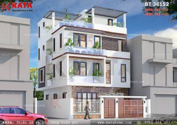 Nhà 3 tầng hiện đại mái bằng đẹp tại Quảng Ninh – Mã số: BT 36152