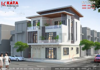 Thiết kế biệt thự 3 tầng hiện đại mái lệch tại Nam Định – Mã số: BT 37056