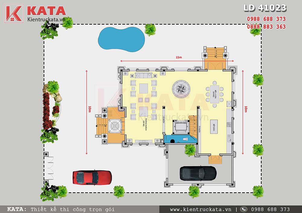 Mặt bằng công năng tầng 1 của biệt thự lâu đài đẹp 3 tầng tại Nam Định