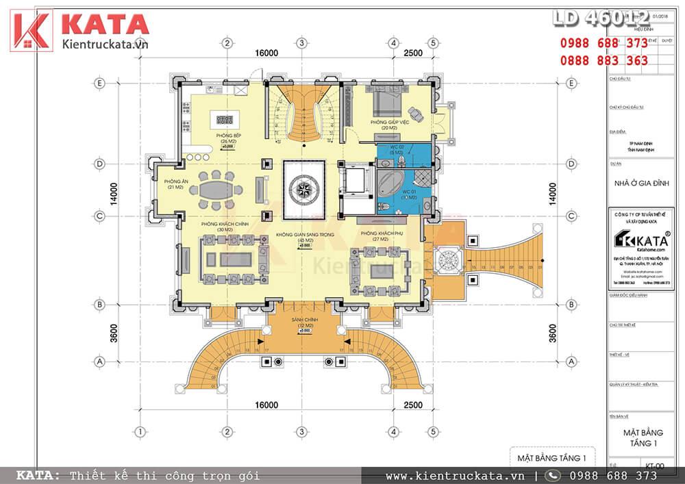 Mặt bằng công năng tầng 1 của mẫu biệt thự lâu đài cổ điển đẳng cấp sang trọng tại Nam Định