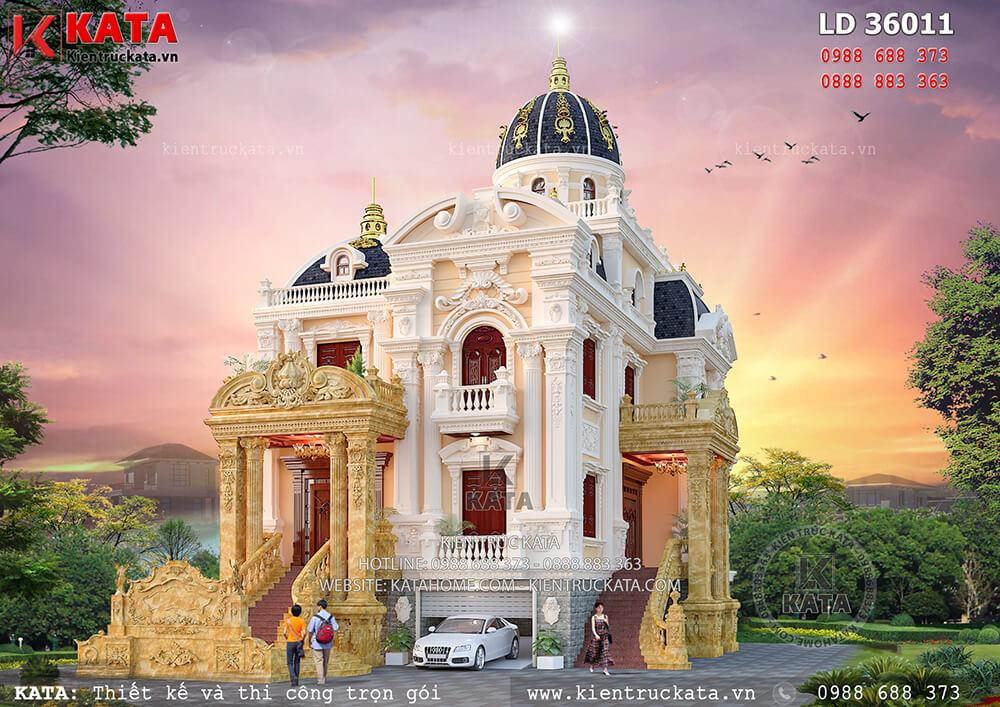 Thiết kế biệt thự 3 tầng kiểu lâu đài đẹp ấn tượng tại Sơn La – LD 36011