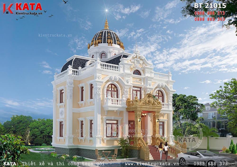 Mẫu nhà biệt thự 2 tầng kiến trúc lâu đài tại Hải Dương - Mã số: LD 21015