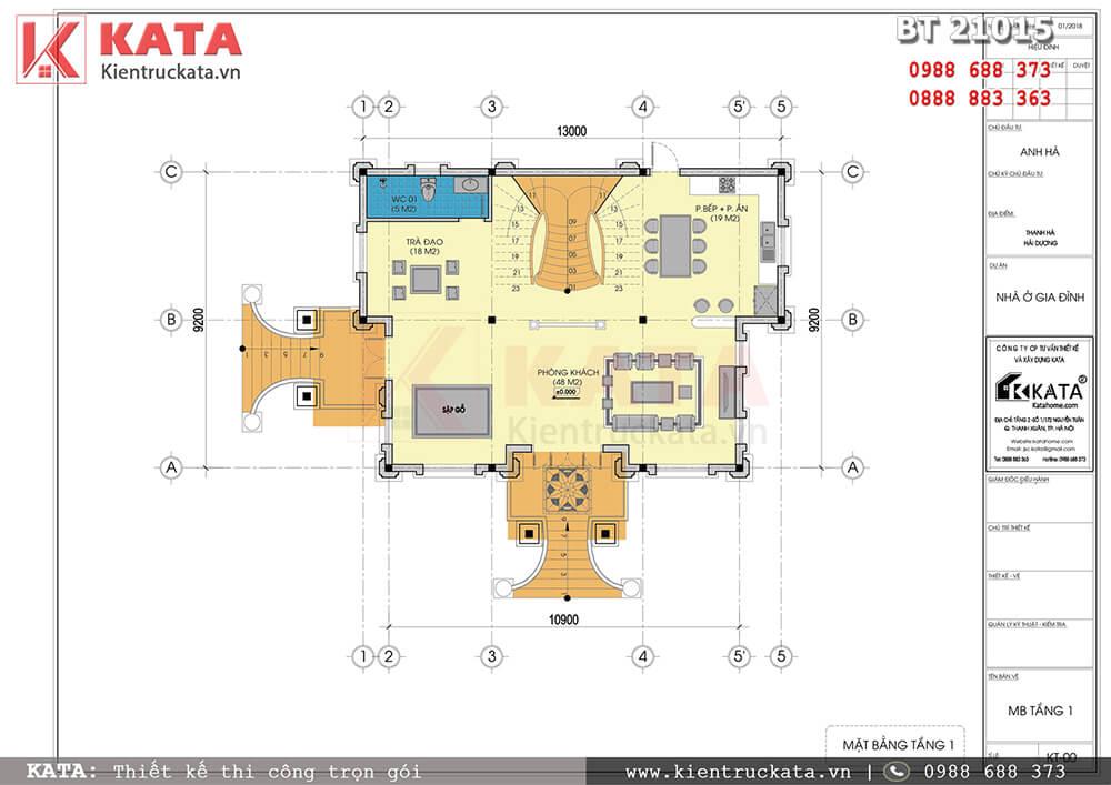 Mặt bằng công năng tầng 1 của mẫu nhà biệt thự 2 tầng kiến trúc lâu đài tại Hải Dương