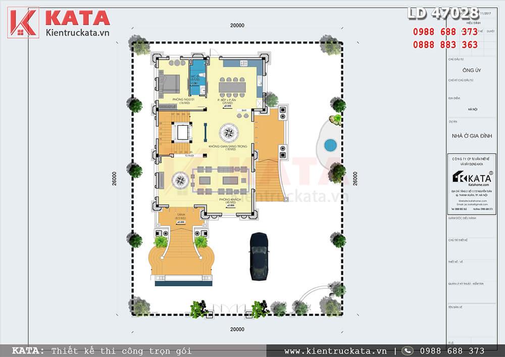 Mặt bằng công năng tổng thể của mẫu thiết kế biệt thự 4 tầng tân cổ điển tại Hà Nội