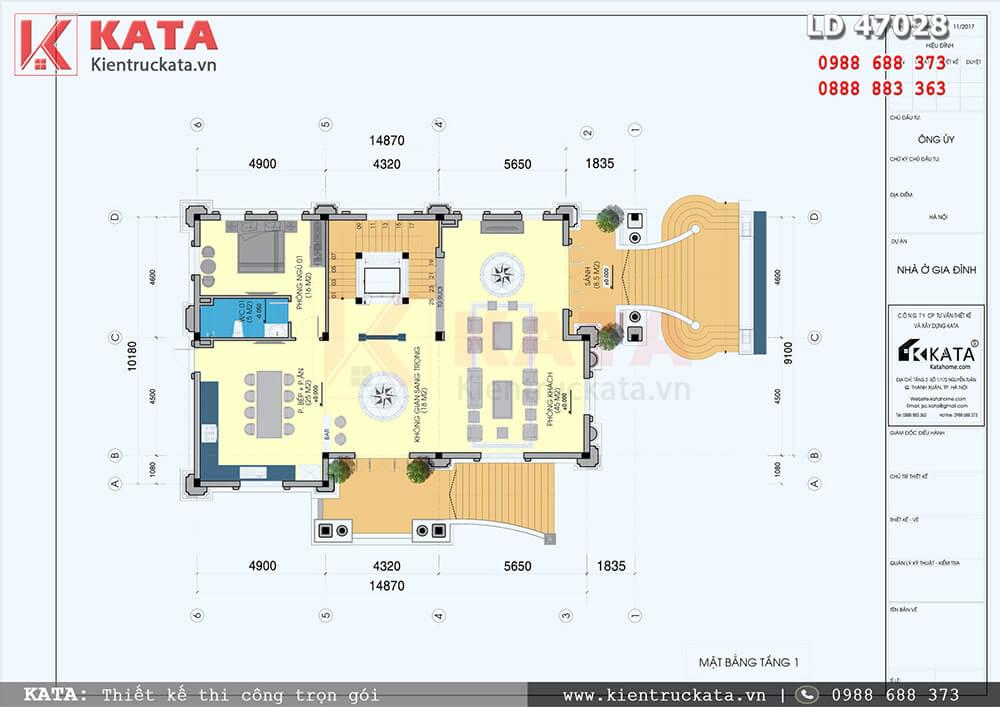 Mặt bằng công năng tầng 1 của mẫu thiết kế biệt thự 4 tầng tân cổ điển tại Hà Nội