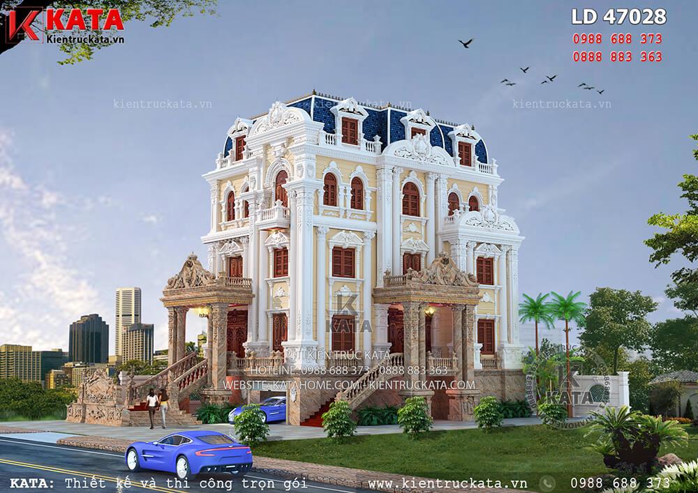 Một góc nhìn của bản thiết kế biệt thự 4 tầng tân cổ điển tại Hà Nội
