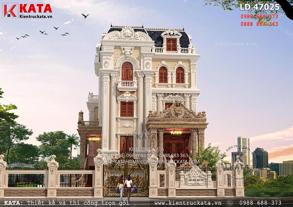 Mặt tiền mẫu thiết kế lâu đài 4 tầng cổ điển tại Hải Dương