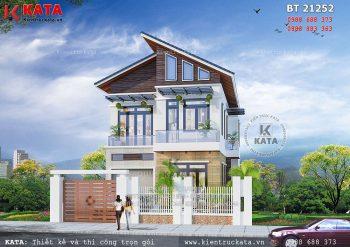 Thiết kế nhà 2 tầng có gác lửng tại Hà Nam – Mã số: BT 21252