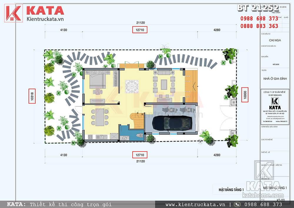 Mặt bằng công năng tầng 1 của mẫu thiết kế nhà 2 tầng có gác lửng tại Hà Nam