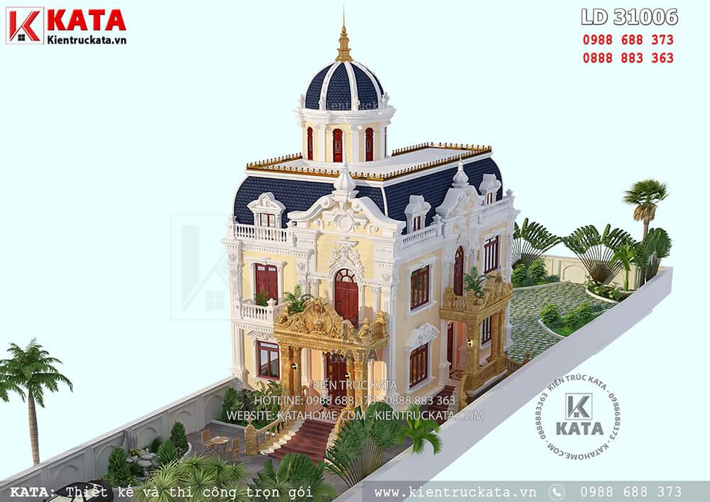 Biệt thự lâu đài 2 tầng cổ điển đẹp tại Hà Nội nhìn từ trên cao