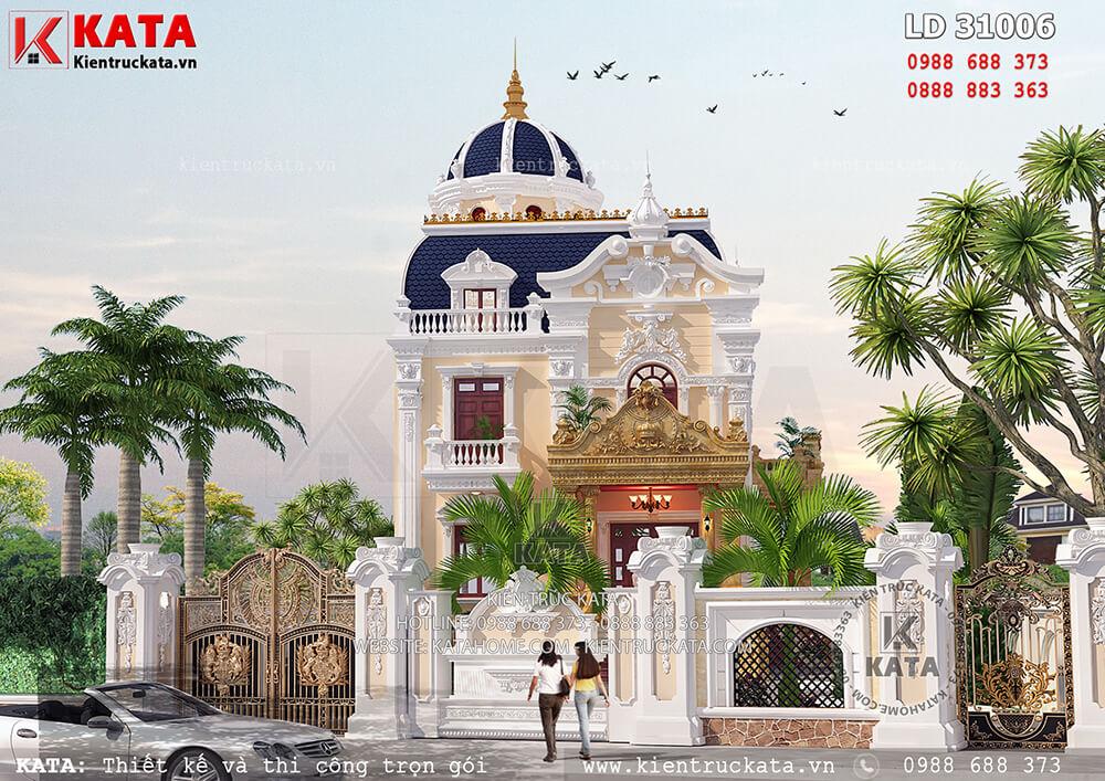 Không gian ngoại thất của mẫu biệt thự lâu đài 2 tầng cổ điển đẹp tại Hà Nội