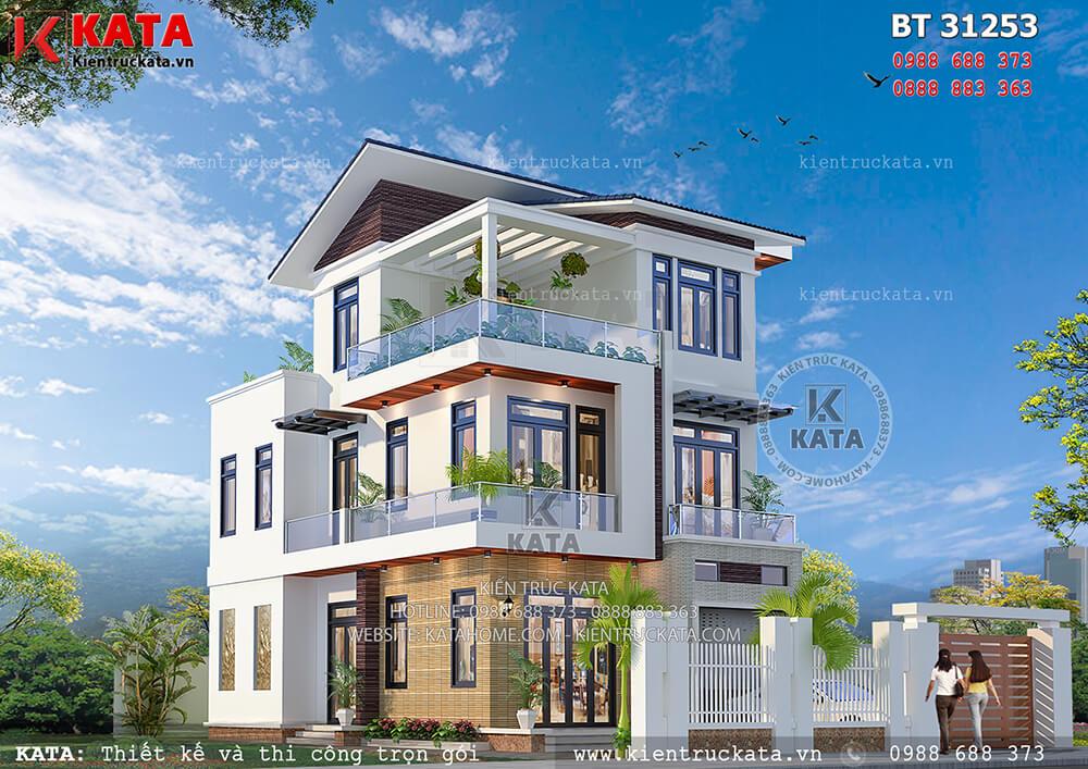 Mẫu biệt thự đẹp 3 tầng mái chéo tại Hà Nội - Mã số: BT 31253