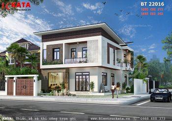 Biệt thự nhà vườn 2 tầng mái chéo tại Thái Bình – Mã số: BT 22016