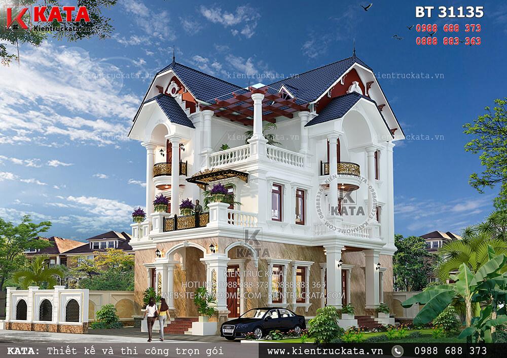 Mẫu nhà mái Thái 3 tầng tại Thái Bình - Mã số: BT 31135