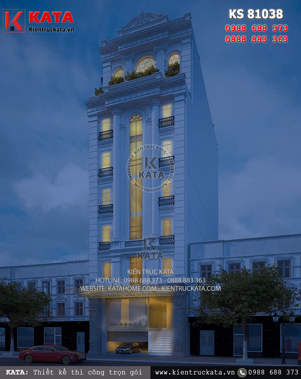 Khách sạn 3 sao đẹp mặt tiền 8m tại Quảng Ninh lung linh về đêm