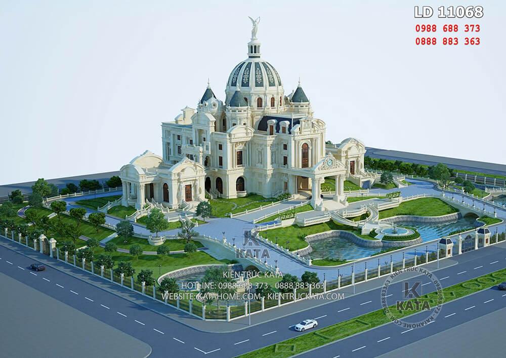 Phối cảnh tổng thể của tòa cung điện lâu đài tại Ninh Bình - Mã số: LD 11068