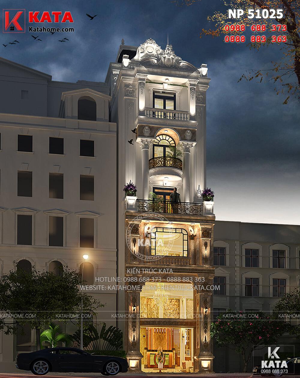 Mẫu biệt thự nhà phố tân cổ điển đẹp tại Ninh Bình lộng lẫy về đêm
