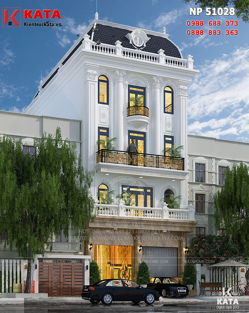 Mẫu thiết kế khách sạn nhà phố kiến trúc tân cổ điển với hệ mái mansard đồ sộ và bề thế tại Hà Nội