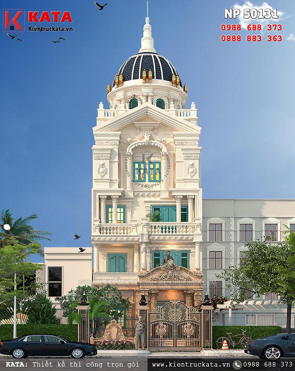 Mặt tiền của mẫu biệt thự lâu đài phố 5 tầng kiến trúc tân cổ điển tại Hà Nội