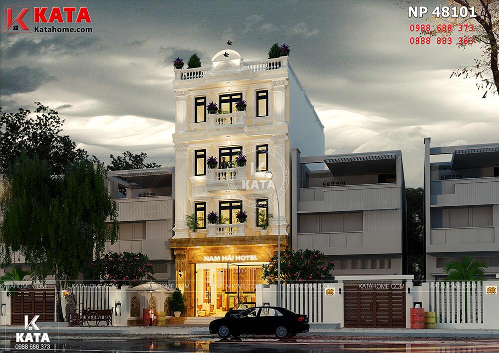 Một góc nhìn của mẫu thiết kế nhà nghỉ - khách sạn 4 tầng kiến trúc tân cổ điển tại Vĩnh Phúc