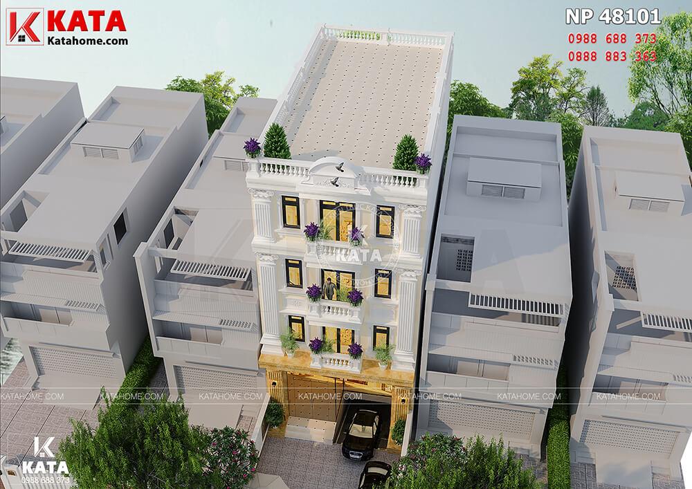 Mẫu thiết kế nhà nghỉ - khách sạn 4 tầng tại Vĩnh Phúc nhìn từ trên cao