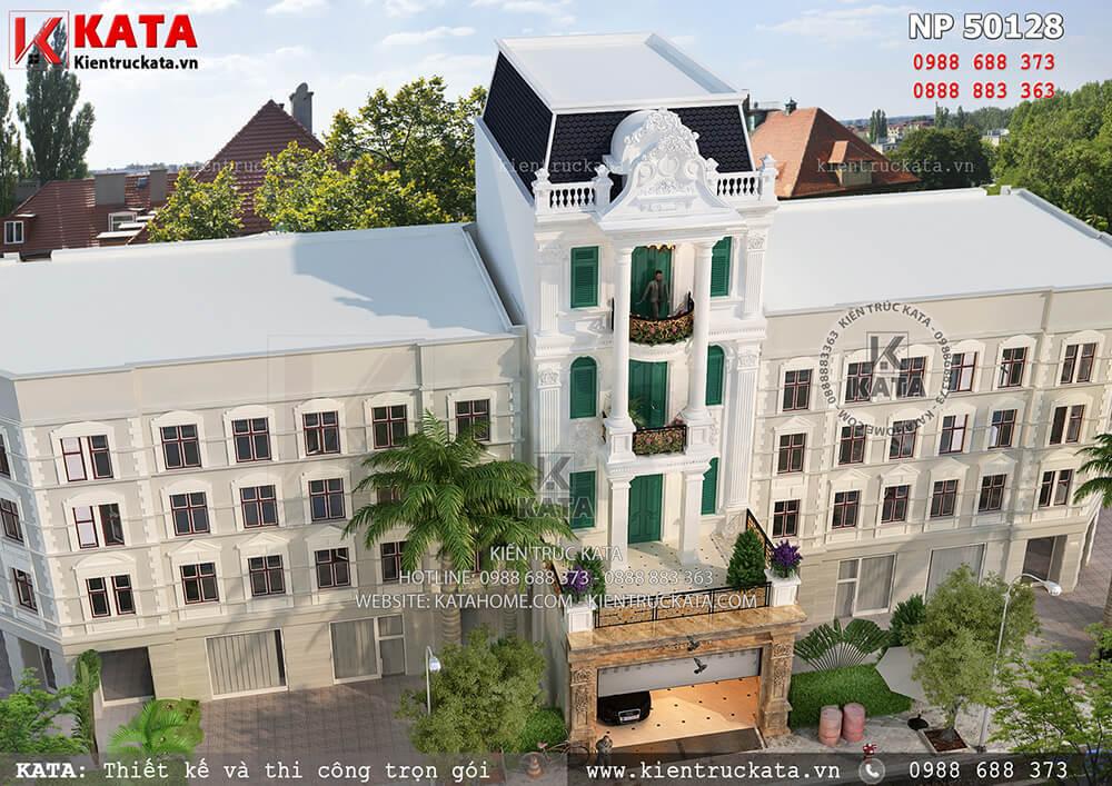 Mặt tiền nhà phố tân cổ điển 5 tầng tại Đà Lạt, Lâm Đồng nhìn từ trên cao