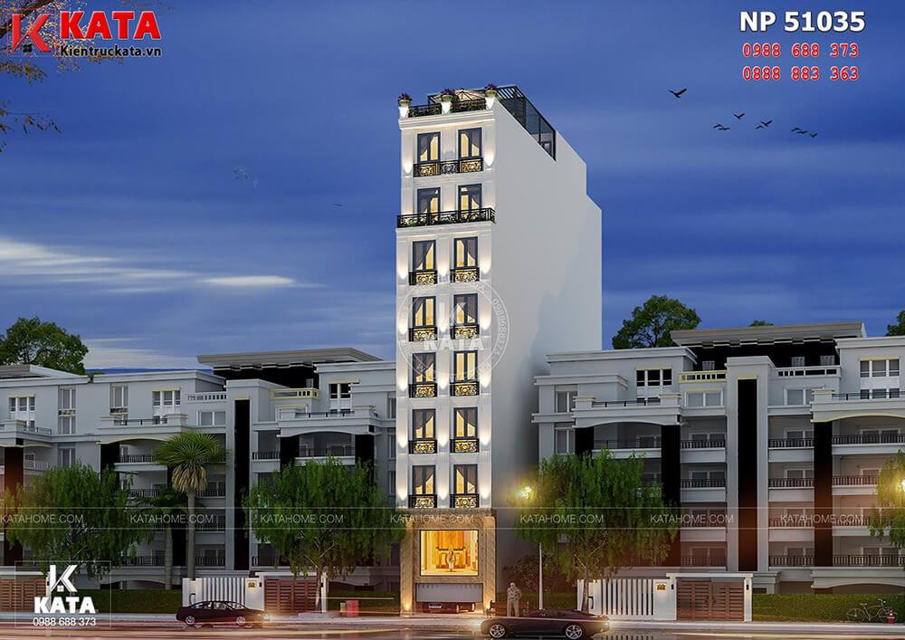 Mẫu thiết kế khách sạn mini 8 tầng tại Hà Nội lung linh về đêm